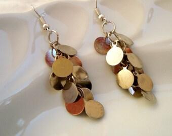 Grape Earrings, Cluster Disc Earrings in Silver Tones, Silver Cluster Dangle Earrings, Bridesmaid Earrings, Wedding Jewelry, Bridal Jewelry