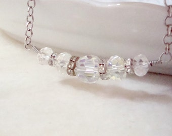 Swarovski Crystal Beaded Bar Necklace, Row Necklace with Sparkly Crystals, Romantic, Bridesmaids, Wedding Jewelry, Simple Delicate Jewelry
