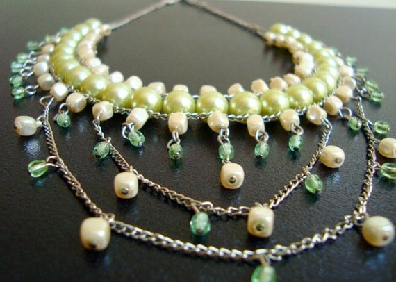 Pearl Statement Necklace, Pearl and Crystal Bold Necklace, Victorian Style Olive Green Choker Necklace, Pearl Choker Statement Necklace