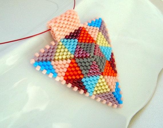 Patchwork Beadwoven Peyote Triangle Pendant, Modern Geometric Jewelry, Peyote Beaded Triangle Pendant Necklace - Beadwork in Autumn Colors