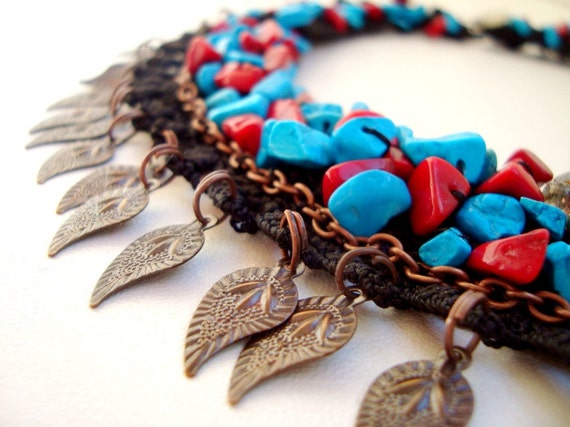 Bead Embroidered Turquoise and Coral Bib Collar Necklace,Birthday Friendship December birthstone...