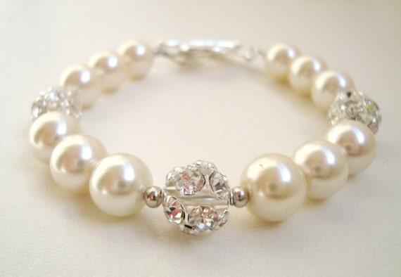 Cream White Single Strand Pearl and Rhinestone Bracelet, Sparkling Bracelet, Wedding Jewelry, Party Accessory, Bridal Bracelet