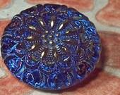 Blue Czech Glass Button with Gold Trim Faceted Crown Ultramarine Navy Cobalt