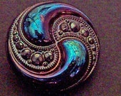 German Glass Buttons Royal Gems Turquoise Green Iridescent Sewing Buttons