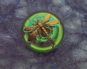 Czech Glass Button Small Green with Gold Dragonfly