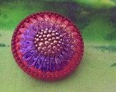 Blue &  Orange Daisy Flower Czech Glass Button with Shank Sewing Knitting Crochet