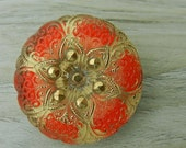 """Czech Glass Button Red Flower Floral Star 27mm 1"""" 1 inch red gold sewing knitting crafts jewelry"""