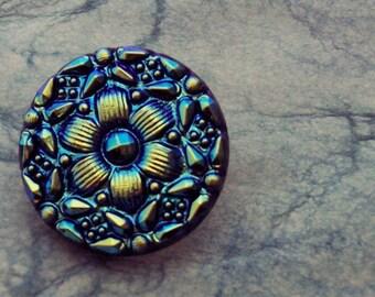 Blue Lily Czech Glass Button