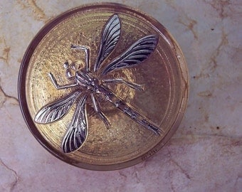 Czech Glass Button Golden with Silver Dragonfly Clothing Costumes Crafts Sewing