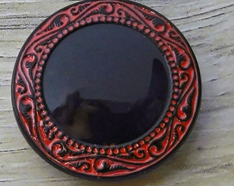 Czech Glass Button Gothic Black Scrying Glass Blood Red Embellishment Trim Closure Finding Sewing Button