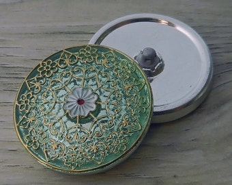 Czech Button Green with Gold Lace Large Sewing Button Bling Sparkle
