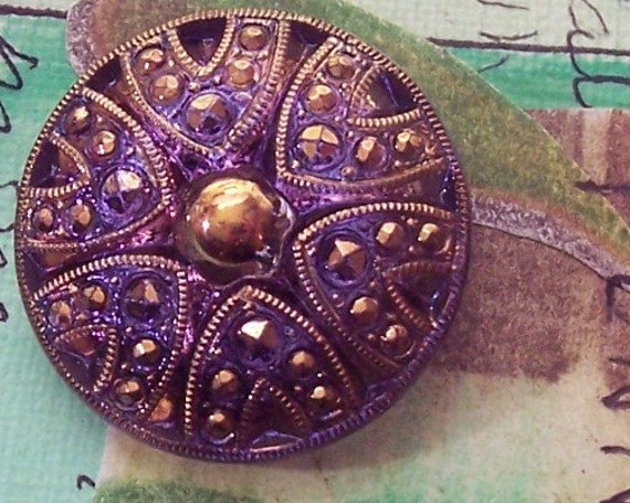 Czech Glass Button Purple and Gold  Veronica Sea Urchin Sewing Button Silvered Back