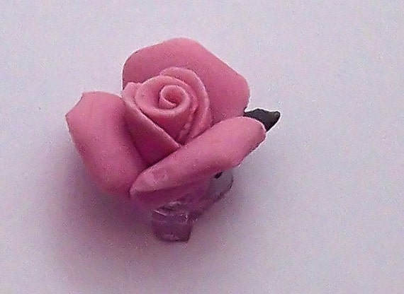 Button China Rose Strawberry Pink Rose Porcelain