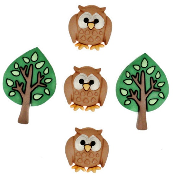 Buttons Jesse James Button Embellishments Night Owls Sewing Buttons Owl Bird Trees Tree Crafts Brown Green