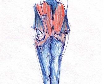 Posrcard No. 57 - A man in blue standing