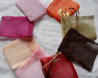 Organza Bags  set of 10 bags 8 x 14inch Sachets handmade soap, bath salt, beads, herbs, favor bag, wedding, sample
