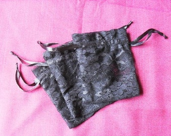 "50 Black Lace drawstring Pouch -4"" wide x 5"" high"