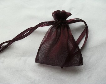 Burgundy Organza Bags / favor bags set of 40 bags 3 x 4inch Great for handmade soaps, herbs, tea, jewelry etc.