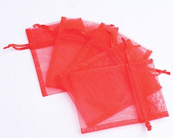Red Organza Bags / favor bags set of 100 bags 3 x 4inch Great for handmade soaps, herbs, tea, jewelry etc.