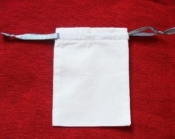"100 White cotton drawstring Pouch 3"" X 4"" for stamping jewelry bath salts herbs handmade soap"