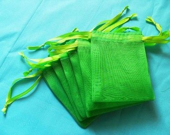 Emerald Green Organza Bags / favor bags set of 50 bags 3 x 4inch Great for handmade soaps, herbs, tea, jewelry etc.