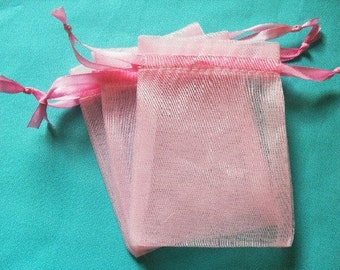 100 Pink Organza Bags / favor bags set of 100 bags 3 x 4inch Great for handmade soaps, herbs, tea, jewelry etc.