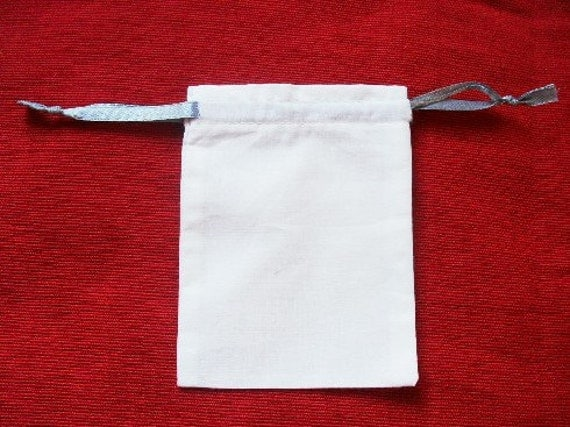 """100 White cotton drawstring Pouch 3"""" X 4"""" for stamping jewelry bath salts herbs handmade soap"""
