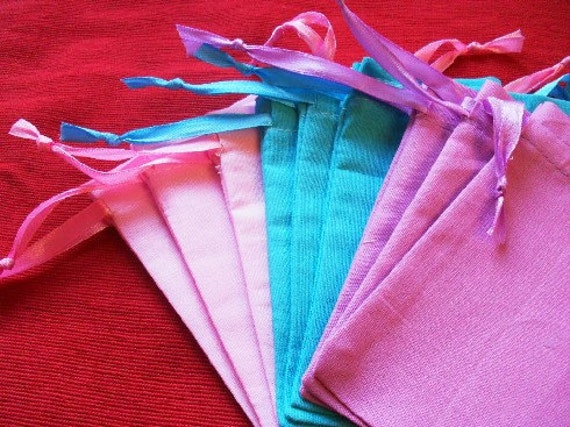 """30 light Pink, Blue, Lavender Cotton Drawstring Pouch - 4"""" wide x 5"""" high for stamping -Gift bags, Soaps, candles, beads, jewelery"""