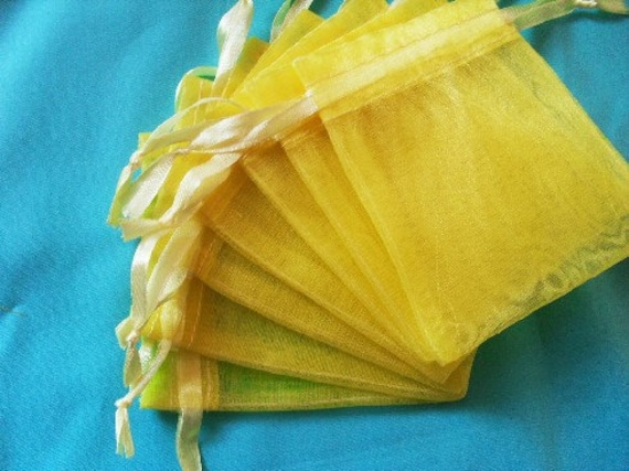 Yellow Organza Bags / favor bags set of 200 bags 3 x 4inch Great for handmade soaps, herbs, tea, jewelry etc.