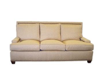 Custom Upholstered Linen Track Arm High Back Sofa