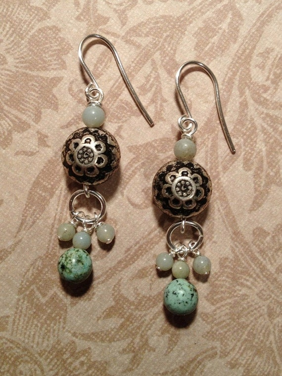 Antiqued Silver Flower, Turquoise and Aquamarine Earrings