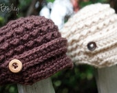 Crochet Newsboy Hat - Newborn- You Pick the Color