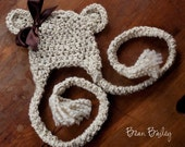 Crochet Teddy Bear Newborn Hat - Cream