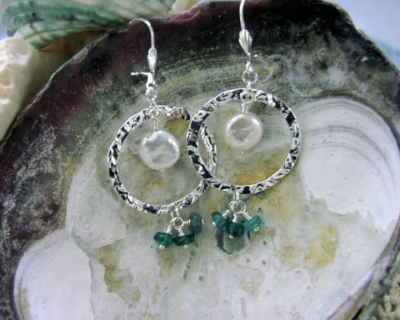 Sterling Silver Hoops  Coin Pearls Apatite Earrings SALE