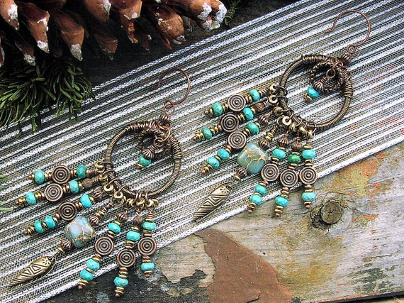 Turquoise Copper and Brass Tribal Boho Earrings