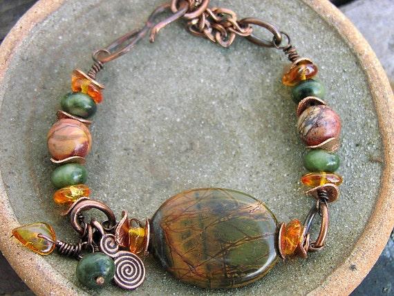 Natural Stone Oregon jasper Copper Charm Bracelet