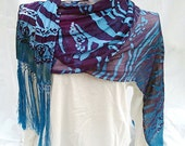 Scarf Hand Dyed Painted Blended Fiber Silk Burn Out Scarf Turquoise Violet Peacock Indigo