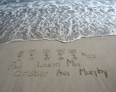 Beach Writing Stick Figure Family of 6 in the Sand at the Jersey Shore