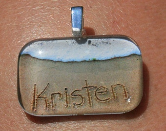 Personalized Name in the Sand Custom Beach Writing Necklace Pendant