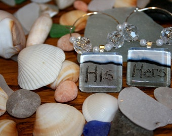 His and Hers Jersey Shore Beach Writing Wine Charms