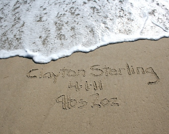 Beach Writing Birth Announcement from the Jersey Shore