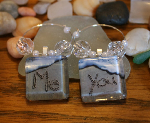 Me and You Beach Writing Wine Charms Glass Markers Wedding