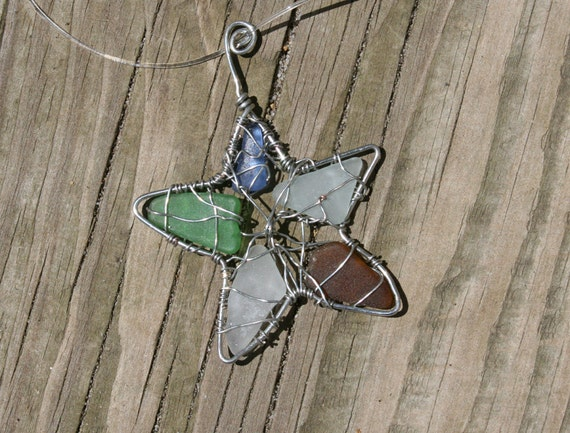 Multicolored Sea Glass Starfish necklace beach glass blue