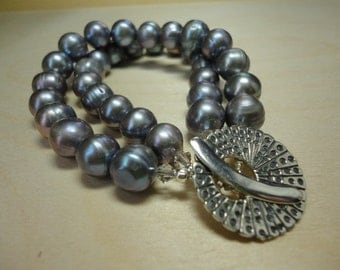 Silver Grey Double Strand Freshwater Pearl Bracelet