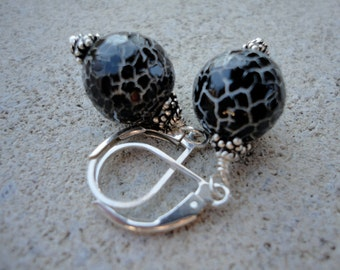 Petite Sparkly Crackled Agate Earrings