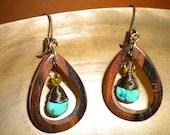 Tiger Ebony Wooden Teardrop Earrings Wire Wrapped Brown Turquoise Copper Crystal