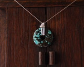 Wire-wrapped Turquoise circle pendant and Sterling silver chain necklace