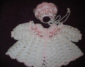 Baby Girl Sweater and Hat Set in White and Pink 0-6 months MADE TO ORDER
