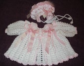 Baby Girl Sweater and Bonnet 0-6 months MADE TO ORDER
