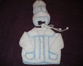 Baby Boy Jacket Sweater and Hat in White and Blue 0-6 months
